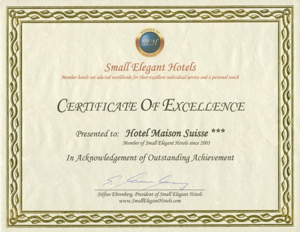Small Elegant Hotels Of The World Certificate Excellence
